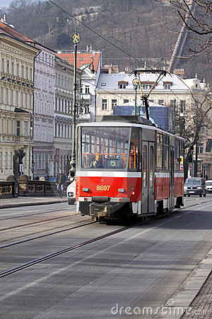 Tramway in Prague Editorial Stock Image