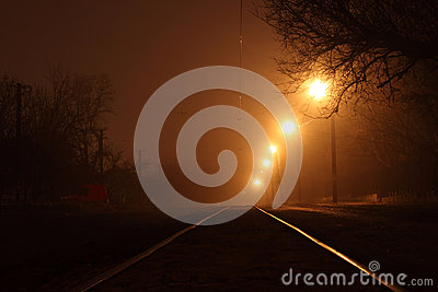 Tramway rails at night
