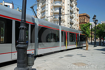 The tramway in Seville Editorial Image