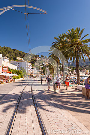 Tramway way Port de Soller Editorial Stock Photo