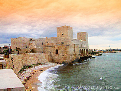 Trani castle at the sunset