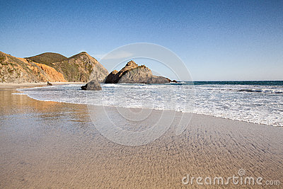 Tranquil Beach In Pfeiffer State Beach Royalty Free Stock Image - Image: 28261196