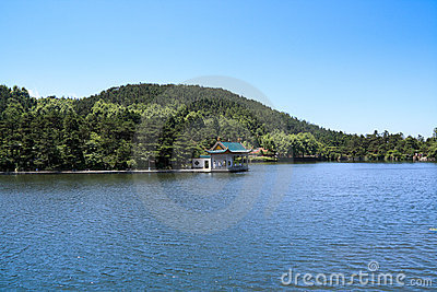 Tranquil lake and pavilion