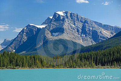 Tranquil lake view in Canadian Rockies