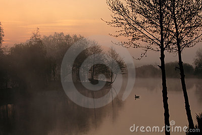 Tranquil misty lake at dawn