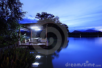 Tranquil Night of Water Editorial Stock Photo