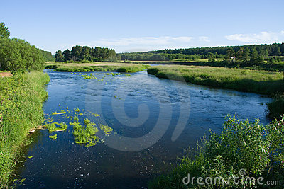 Tranquil river and the meadows