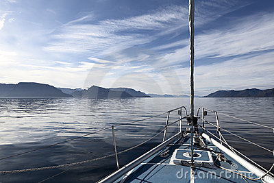 Tranquil sailing in Norwegian fjords