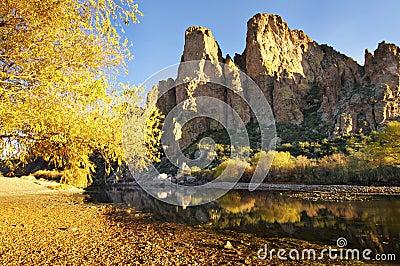 Tranquil water creek beside mountain