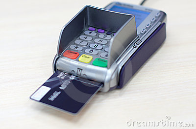 Transaction with credit debit card in