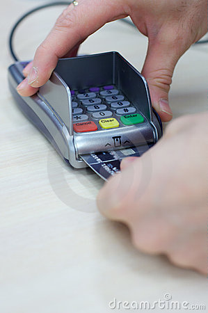 Transaction with credit debit card hands holding