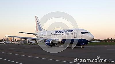 Transaero Airlines Boeing 737 aircraft running on the runway