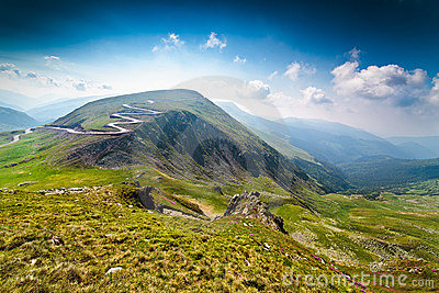 Transalpina road and Urdele peak in Romania