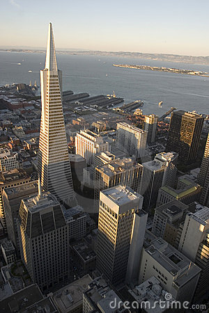 Transamerica Building at sunse