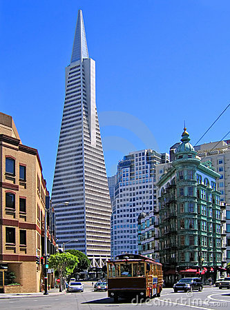 Transamerica Pyramid, trolley Editorial Photography
