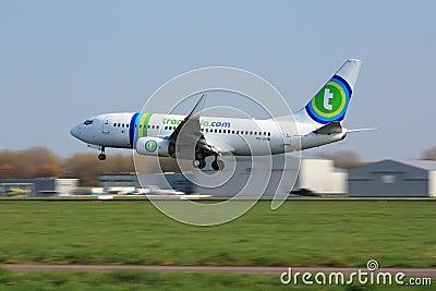 Transavia 737 landing in Rotterdam Editorial Image
