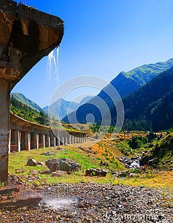 Transfagarasan mountain road and bridge