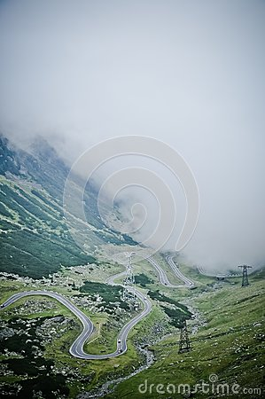 The Transfagarasan road seen from above