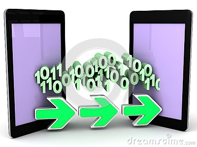 Transferring data bits and bytes from phone to phone