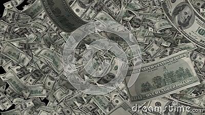 Transition de billets d'un dollar 100 notes de Benjamin Franklin pilotent le côté pour dégrossir illustration stock