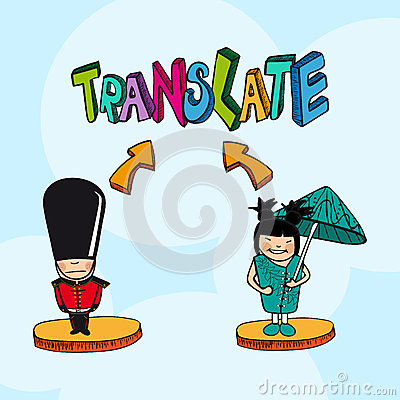 Translation concept  english chinese  people carto