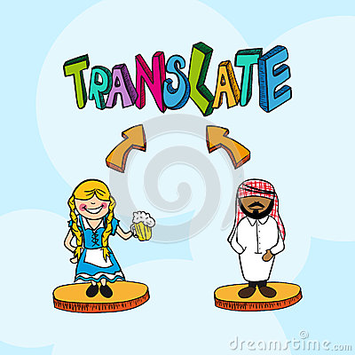 Translation concept german arabic people cartoon.