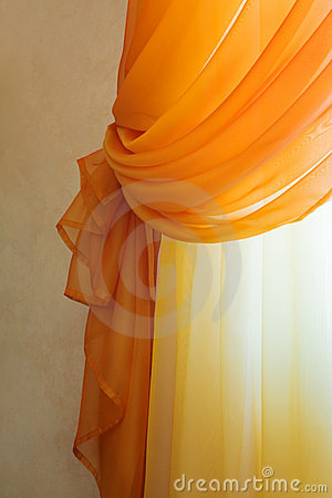 Translucent orange curtains