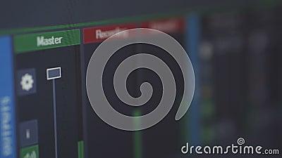 A transmissão da relação do programa Tela de computador audio profissional do estúdio da gravação audio para gravar a música video estoque