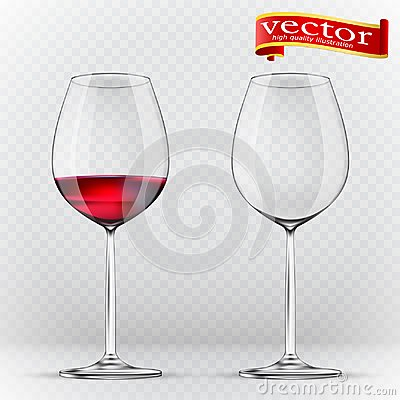 Free Transparency Wine Glass. Empty And Full. 3d Realism, Vector Icon Stock Photography - 111375392