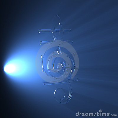 Transparent 3d treble clef in volume light
