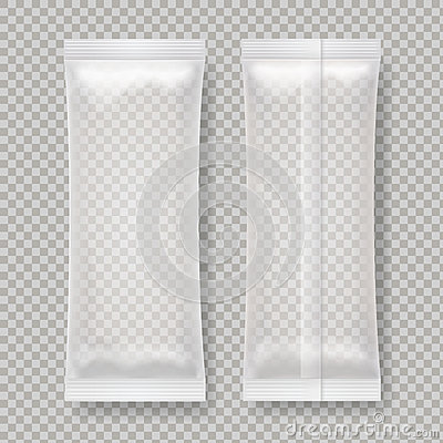 Transparent blank foil food package for snack, chocolate bar, sugar. Vector Illustration