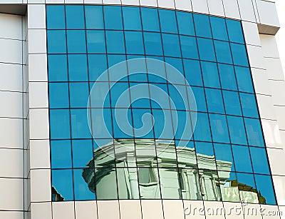 Transparent blue building windows