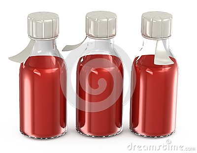 Transparent bottles with a vaccine