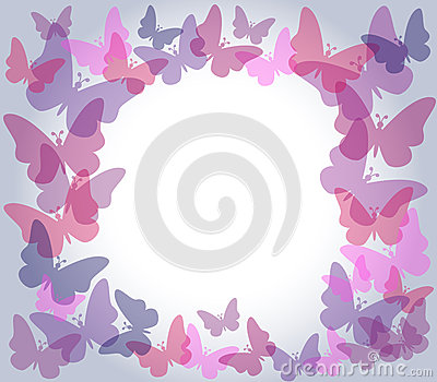 Transparent butterflies frame