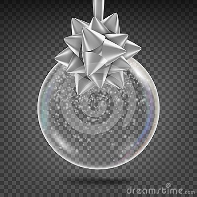 Free Transparent Christmas Ball Vector. Shiny Glass Xmas Tree Toy With Snowflake And Silver Bow. New Year Holidays Decoration Stock Images - 104254724
