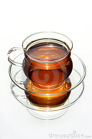 Transparent cup of tea