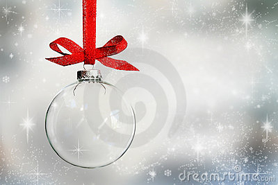 Transparent empty Christmas bauble