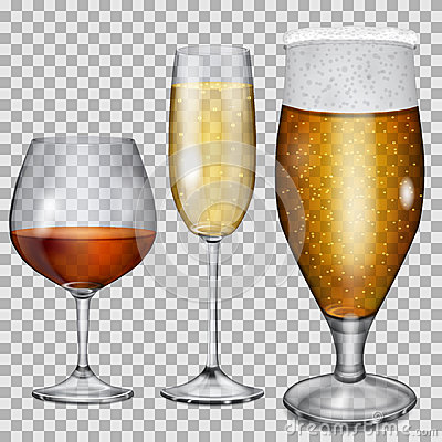 Free Transparent Glass Goblets With Cognac, Champagne And Beer Stock Photography - 49957312