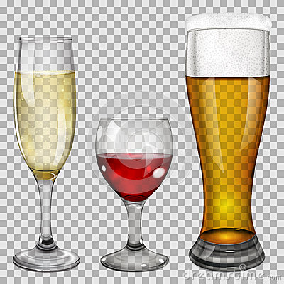 Free Transparent Glass Goblets With Drinks Stock Image - 41174461