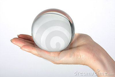 The transparent glass sphere