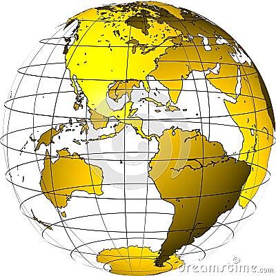 Transparent globe: America