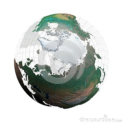 Transparent globe with continents and grid system