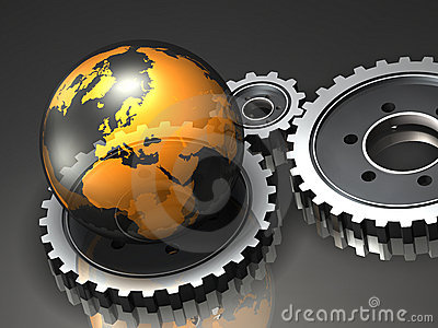 Transparent Globe and Gears