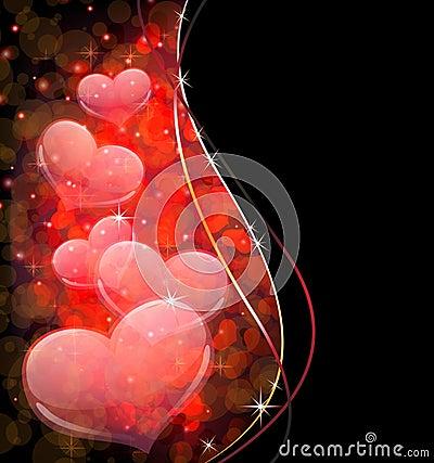 Transparent hearts.  Valentines Day postcard