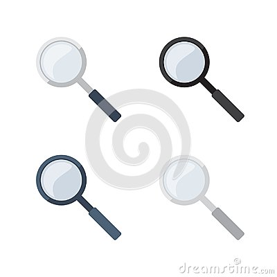 Transparent Magnifying Glass in 4 different color variations Vector Illustration