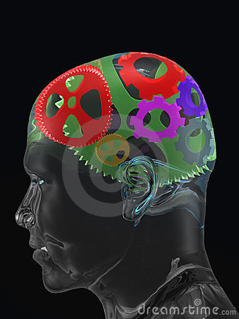 Transparent man s skull with colour curve gears