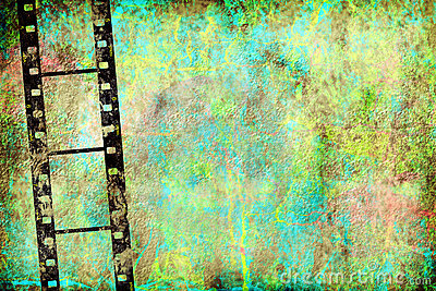 Transparent negative film by old grunge wall