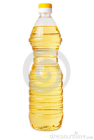Transparent plastic bottle of vegetable oil
