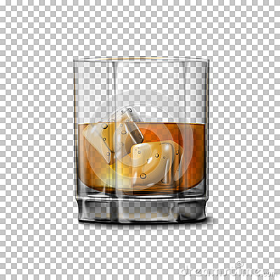 Free Transparent Realistic Vector Glass With Smokey Scotch Whiskey And Ice . Stock Image - 69937061