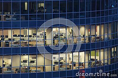 Transparent windows of large business center